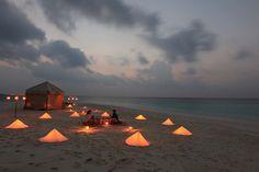Digital free zone ... private dinner picnic on the sandbank at Soneva Fushi, Maldives.