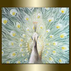 Original Peacock Oil Painting Contemporary Modern by willsonart, $355.00