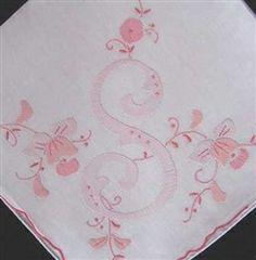 S Initial Monogram Beautiful Pink Handkerchief HANKIE Madeira style $9.99