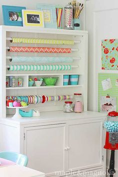 Wrapping station or a Sewing studio Sewing Room Organization, Craft Room Storage, Organizing, Craft Rooms, Studio Organization, Storage Ideas, My Sewing Room, Sewing Rooms, Space Crafts