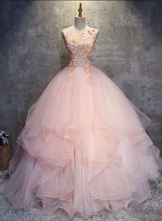 Charming Ball Gowns Prom Dress,TUlle Prom Dress,Sexy Round Neck Pink Prom Dress,Long Party Dress,Tulle Long Prom/Evening Dress with Flowers