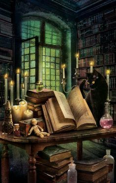 .Spells, cat, candles, potions, books, library, black cat, Witch, Wicca, Pagan, Halloween, Samhain