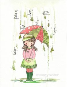 Little girls illustration watercolor and ink by onetinybutterfly