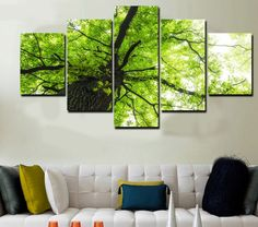 5 Pieces Multi Panel Modern Home Decor Framed Spring Tree Scenery Wall Canvas Art
