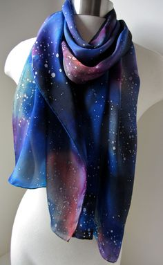 Silk Scarf, Hand Painted - Multicolored Galaxy Scarf v. II - One-of-a-Kind Wearable Art - Ready to Ship. $79.00, via Etsy.