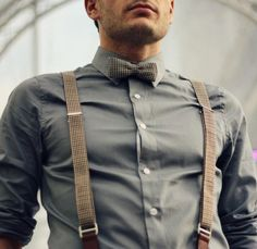 Button-up w/ suspenders and matching bow tie.