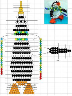 схема пингвина из бисера Pony Bead Projects, Pony Bead Crafts, Seed Bead Crafts, Beaded Crafts, Beaded Ornaments, Beading Projects, Pony Bead Patterns, Beading Patterns, 3d Figures