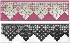 Agulha e linha na mão para executar esses três lindos modelos de barrados de crochê filé.