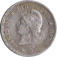 Moneda de plata Argentina 20 Centavos 1882.