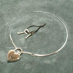 0998e5cd7 Silver Discreet Neckwire BDSM Slave Collar LARGE- Heart Lock (COL 136)