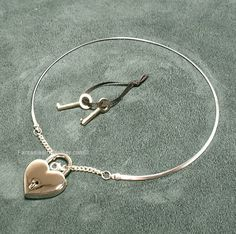 Silver Discreet Neckwire BDSM Slave Collar LARGE- Heart Lock (COL 136). $45.00, via Etsy. i want it! ! !