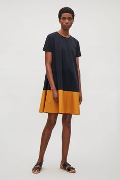 COS image 1 of Contrast panel dress in Orange