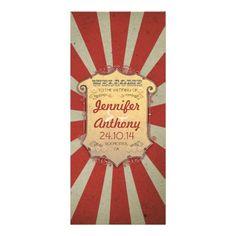 Circus Carnival Vintage Wedding Programs Full Color Rack Card