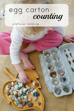 This egg carton counting activity will help your young toddler learn to count with beautiful, natural materials.