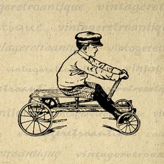 Old Fashioned Boy with Toy Car Digital Printable Graphic Childrens Wagon Image Download Antique Clip Art. High quality digital graphic from vintage artwork for making prints, fabric transfers, and more. Personal or commercial use. This digital image is high quality and high resolution at size 8½ x 11 inches. Transparent background PNG version included.