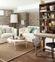 Use exposed brick to create a focal point in your living room.