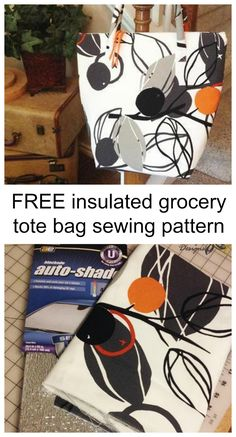 FREE insulated grocery tote bag sewing pattern.