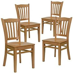 Amazon.com - Flash Furniture 4 Pk. HERCULES Series Vertical Slat Back Natural Wood Restaurant Chair - Chairs Wood Restaurant Chairs, Woods Restaurant, Restaurant Furniture, Metal Dining Chairs, Dining Chair Set, Dining Room, Stainless Steel Table Top, Outdoor Table Settings, Commercial Furniture