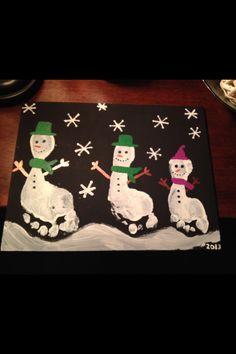 Snowman footprints