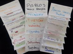 By having students draw a hint next to each day of the week, this weekly routine flip book can effectively become the basis for a speaking activity in which students make guesses about their…