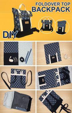 Diy Bags Patterns, Vintage Sewing Patterns, Sewing Tutorials, Sewing Projects, Diy Backpack, Top Backpacks, Simple Bags, Fabric Bags, Handmade Bags