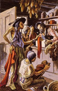 Bartering with Traders by Thomas Hart Benton, Watercolor, 1944.