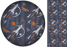 Fifites space-ship inspired fabric graphic with stars, planets, satellites in retro colors. Thunderbirds are go!