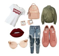 """""""...."""" by kee-darden on Polyvore featuring Levi's, One Teaspoon, Raf Simons, adidas Originals, Linda Farrow, MCM, Lime Crime and Michael Kors"""