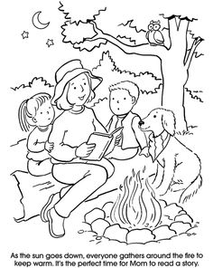 Going Camping Dover Publications Colouring Pics, Coloring Books, Drawing Images For Kids, Picture Comprehension, Picture Composition, Christmas Arts And Crafts, English Worksheets For Kids, Coloring Sheets For Kids, Doodle Art Drawing
