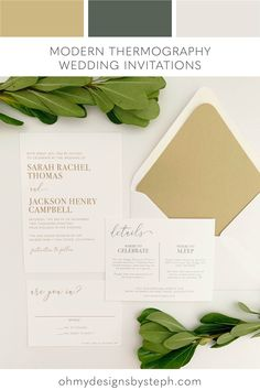 Modern wedding invitations with gold thermography for a neutral wedding
