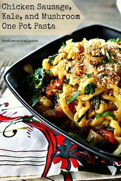 Chicken Sausage, Kale, and Mushroom OnePotPasta looks soooo good!