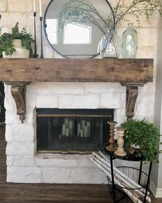 Update your fireplace decor with a simple side table with storage space . Update your fireplace decor with a simple side table with storage space for everyone . - Update your fireplace decor w. Stone Fireplace Decor, Fireplace Redo, Farmhouse Fireplace, Fireplace Remodel, Living Room With Fireplace, Brick Fireplace, Fireplace Design, Home Living Room, Farmhouse Decor