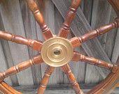 Huge Vintage Teak and Brass Ship's Wheel $500