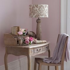 House to Home: Gorgeous lilac walls set the stage for soft and feminine office. Distressed French desk ...