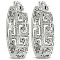 @Overstock - Openwork Greek key designs studded with fiery white diamonds adorn these charming hoop earrings. Crafted of .925 sterling silver, the earrings secure with saddleback clasps.http://www.overstock.com/Jewelry-Watches/Sterling-Silver-1-4ct-TDW-Diamond-Greek-Key-Hoop-Earrings-J-K-I3/4817471/product.html?CID=214117 CAD              69.55