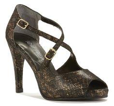 3613a157824 Lexi  Black Bronze Lizard Print Comfortable High Heels
