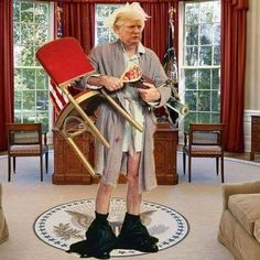 Bathrobe man wandering the White House ... Looks about right for what Trump says and does daily ...