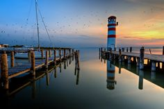 This is the only Beacon in Austria. It is situated at Lake Neusiedl which is a natural preserve for migratory birds that land in this region on their journey from/ to Africa. Great Photos, Cool Pictures, Beacon Lighting, Migratory Birds, Exposure Time, South Tyrol, Pink Sunset, Closer To Nature, Travel And Tourism