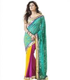 Buy Blue brasso net saree with blouse brasso-saree online