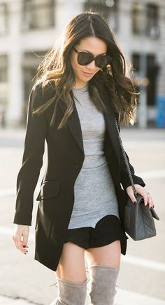 #winter #fashion /  Black Blazer + Grey Dress