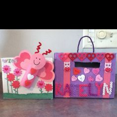 Cereal valentine boxes  I like the butterfly out of a Tpaper roll, hearts, and pompom flowers