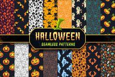 Halloween Seamless Patterns Set 1 by pixaroma on Creative Market