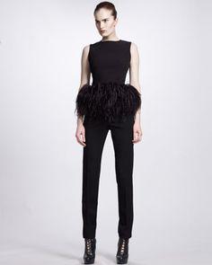 Feather-Peplum Top & Slim Zip-Ankle Pants by Alexander McQueen