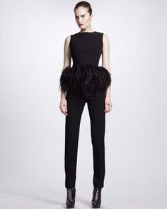 Feather-Peplum Top & Slim Zip-Ankle Pants by Alexander McQueen at Bergdorf Goodman.