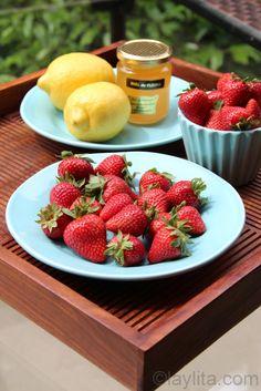 Homemade strawberry lemonade recipe, made in the blender using lemons, strawberries and honey.