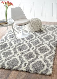 Large are rug under $150 - Nuloom 5'3 x 7'6 Slyvia Shaggy Rug in Gray: Kitchen & Dining (aff link)