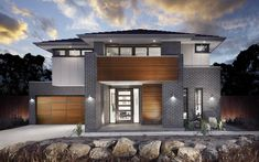 Love the timber feature on this facade but will a double garage ruin it? Impractical to have a single garage when it's a 5 bedroom home. Modern House Facades, Modern House Plans, Modern House Design, Modern Architecture, Design Exterior, Facade Design, Modern Exterior, Interior Design Gallery, Villa