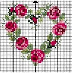 101 ÇEŞİT GÜL ŞABLONU (1) - GELİN İŞLERİ Wedding Cross Stitch Patterns, Modern Cross Stitch Patterns, Cross Stitch Designs, Cross Stitch Heart, Simple Cross Stitch, Cross Stitch Flowers, Cross Stitching, Cross Stitch Embroidery, Needle Tatting Tutorial