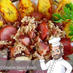 Baião de Dois Carne, Black Eyed Peas, Paella, Potato Salad, Beans, Cooking Recipes, Nutrition, Traditional, Ethnic Recipes