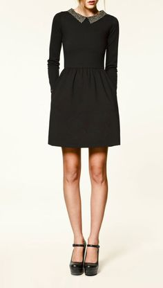 love this longsleeve black dress with collar and platform mary janes
